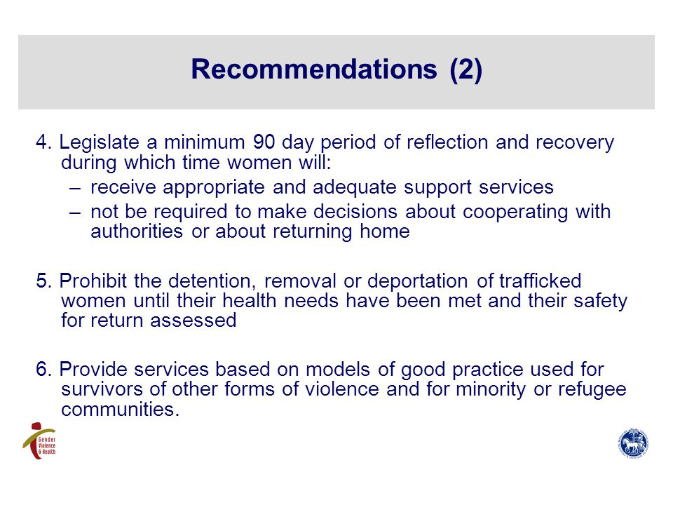 Recommendations (2) 4.