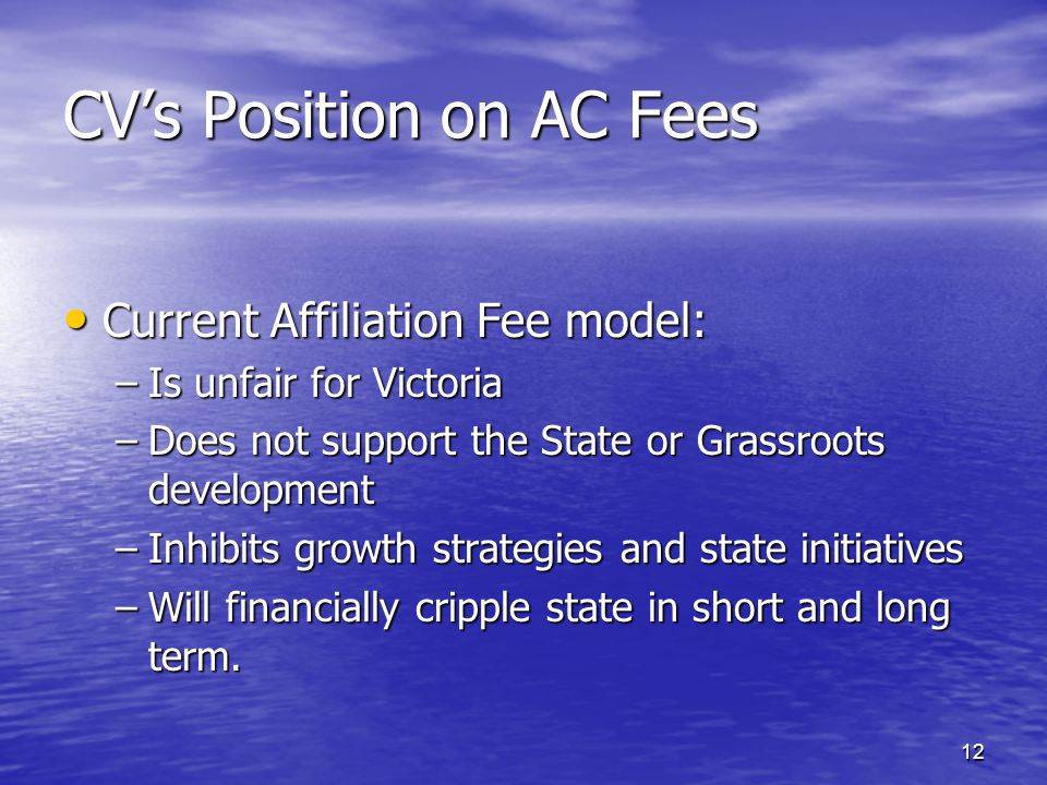 CV's Position on AC Fees Current Affiliation Fee model: Current Affiliation Fee model: –Is unfair for Victoria –Does not support the State or Grassroots development –Inhibits growth strategies and state initiatives –Will financially cripple state in short and long term.