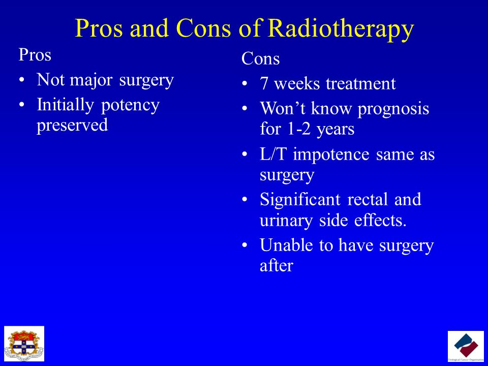 Pros and Cons of Radiotherapy Pros Not major surgery Initially potency preserved Cons 7 weeks treatment Won't know prognosis for 1-2 years L/T impotence same as surgery Significant rectal and urinary side effects.