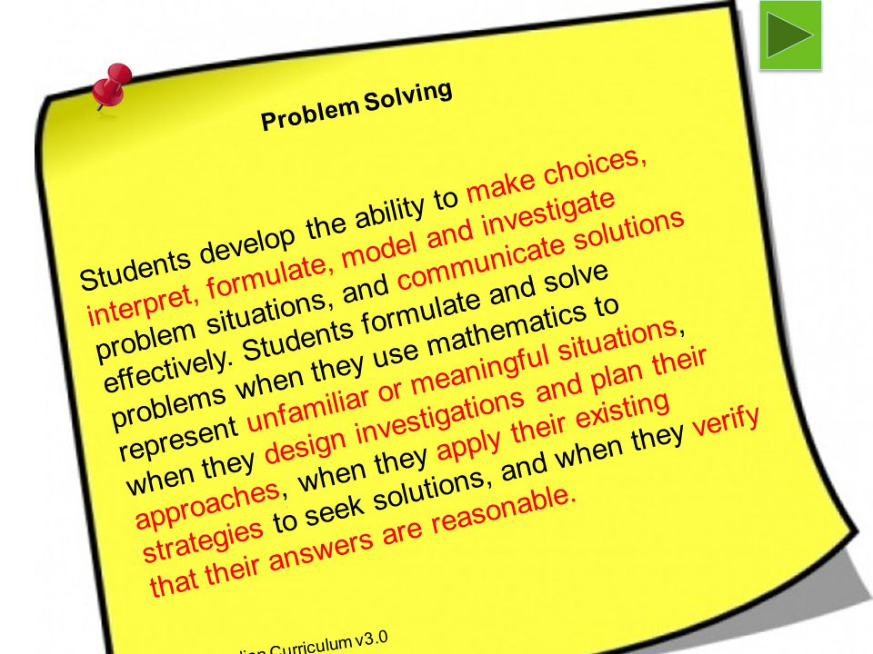 Problem Solving As per Australian Curriculum v3.0 Students develop the ability to make choices, interpret, formulate, model and investigate problem situations, and communicate solutions effectively.