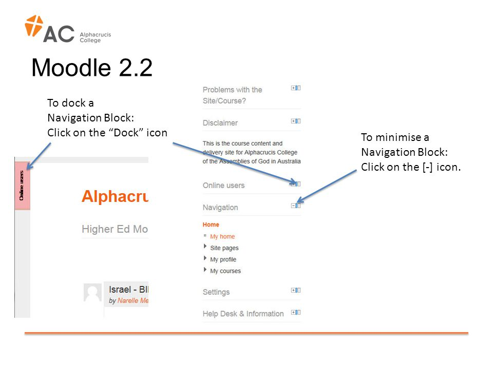 Moodle 2.2 To minimise a Navigation Block: Click on the [-] icon.