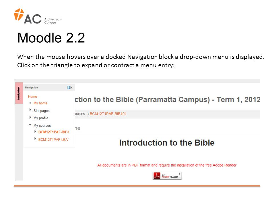 Moodle 2.2 When the mouse hovers over a docked Navigation block a drop-down menu is displayed.