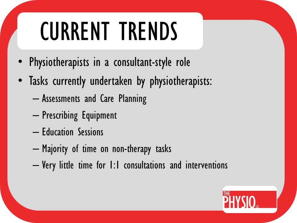 CURRENT TRENDS APA Aged Care Survey 2007 – July to September 2007 – 157 Aged Care Physiotherapists surveyed – Topics surveyed included Current number of physiotherapy hours per facility, per week Adequacy of current physiotherapy programs Appropriateness of non-physiotherapy staff interventions Use of Medicare funding for physiotherapy services in RACF's