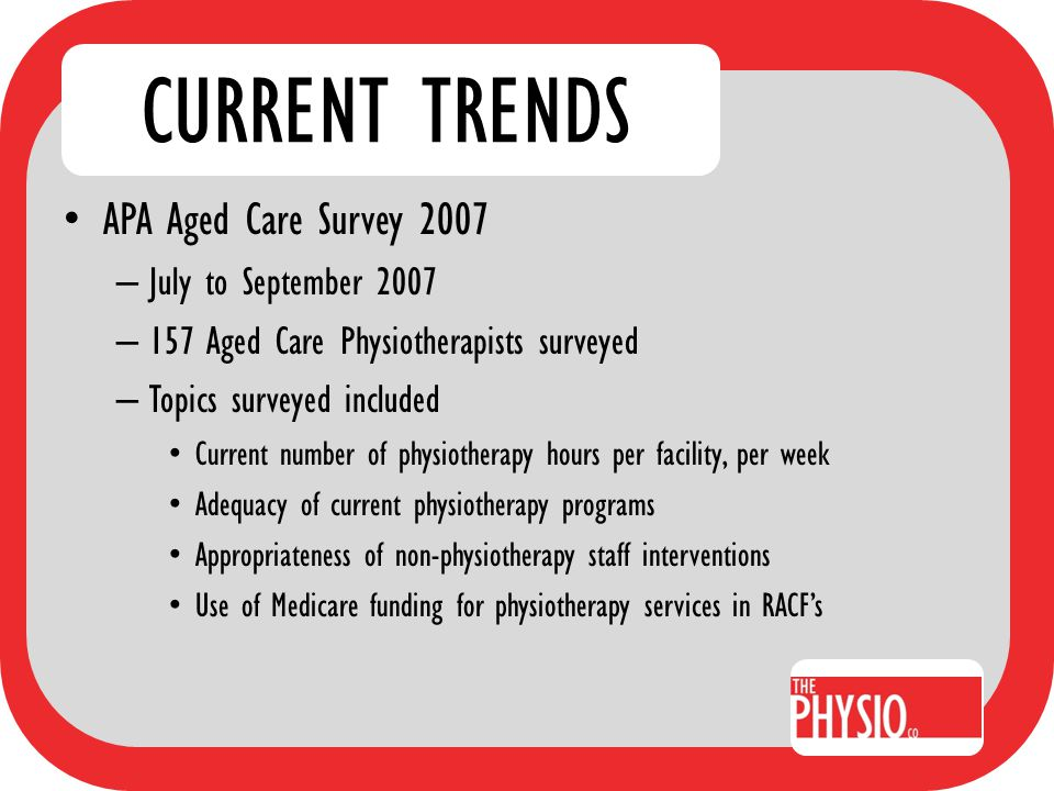 CURRENT TRENDS APA Aged Care Survey 2007 Results – 54% of physiotherapists believed RACF clients' therapy needs were NOT adequately met.
