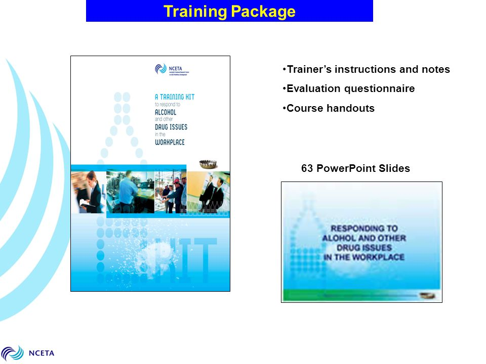 Training Package Trainer's instructions and notes Evaluation questionnaire Course handouts 63 PowerPoint Slides