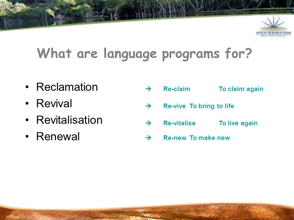 The Aboriginal Languages K-10 Syllabus and support documents Provides guidelines for developing a language program Encourages high quality language teaching and learning By meeting the requirements of the syllabus you know Aboriginal Language Programs have the same standard and status as other language courses.