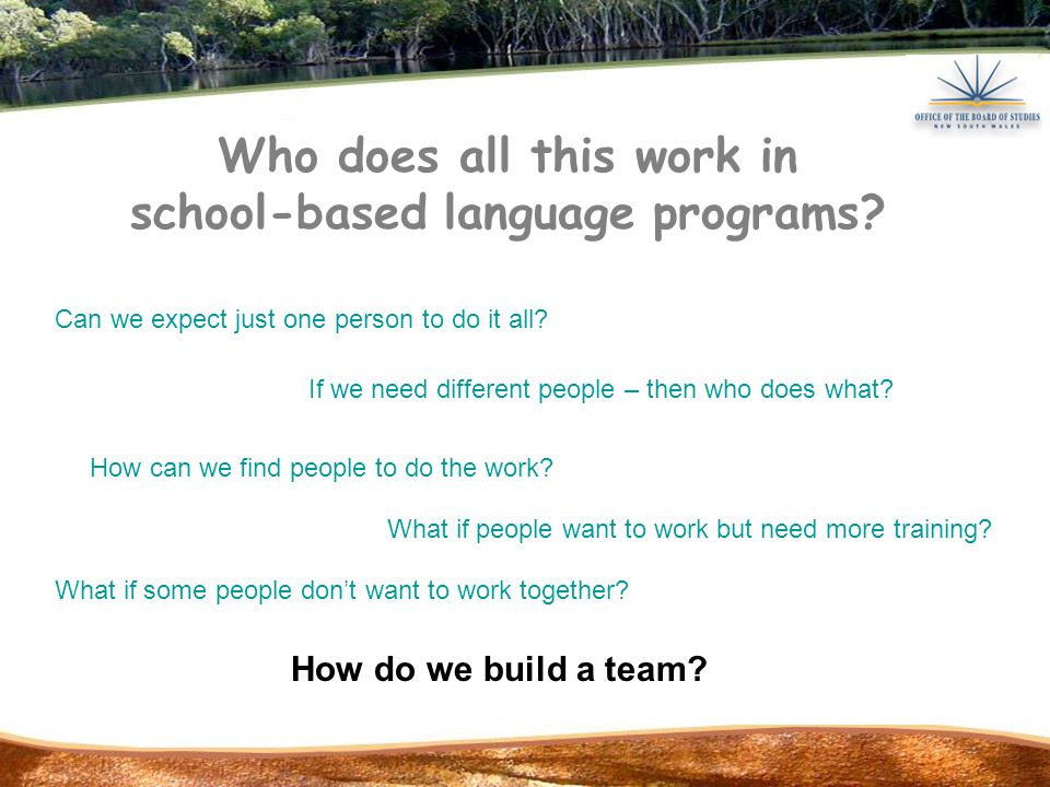 Who does all this work in school-based language programs.