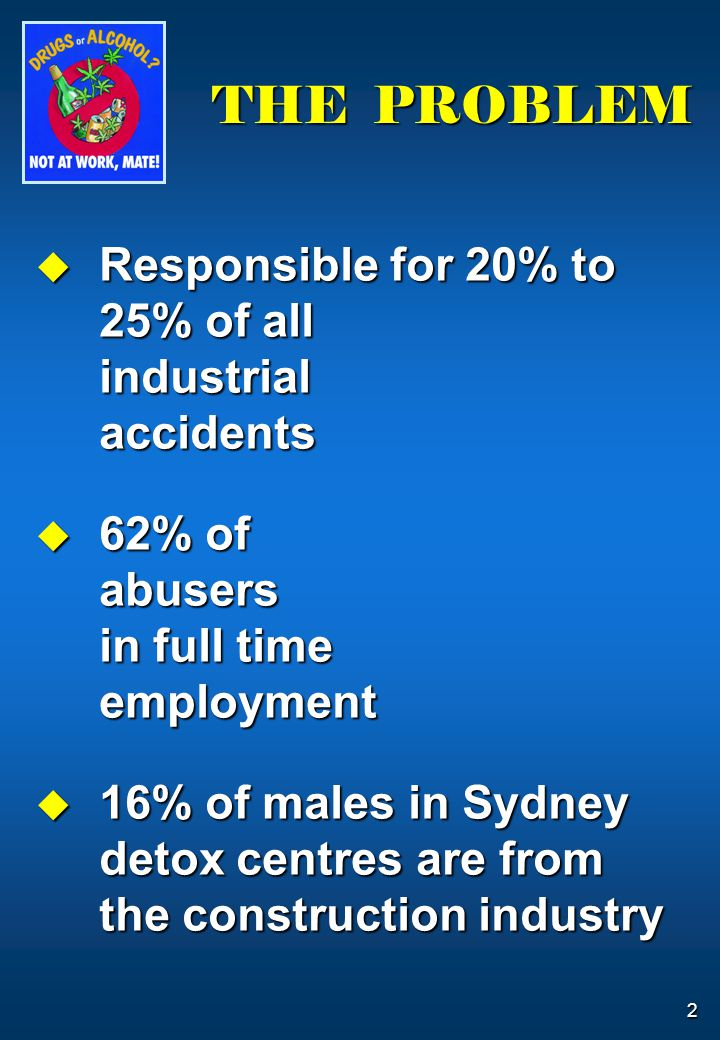 2 THE PROBLEM  Responsible for 20% to 25% of all industrial accidents  62% of abusers in full time employment  16% of males in Sydney detox centres
