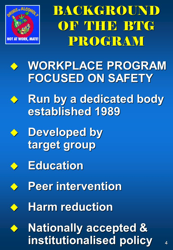 4  WORKPLACE PROGRAM FOCUSED ON SAFETY  Run by a dedicated body established 1989  Developed by target group  Education  Peer intervention  Harm reduction  Nationally accepted & institutionalised policy BACKGROUND OF THE BTG PROGRAM
