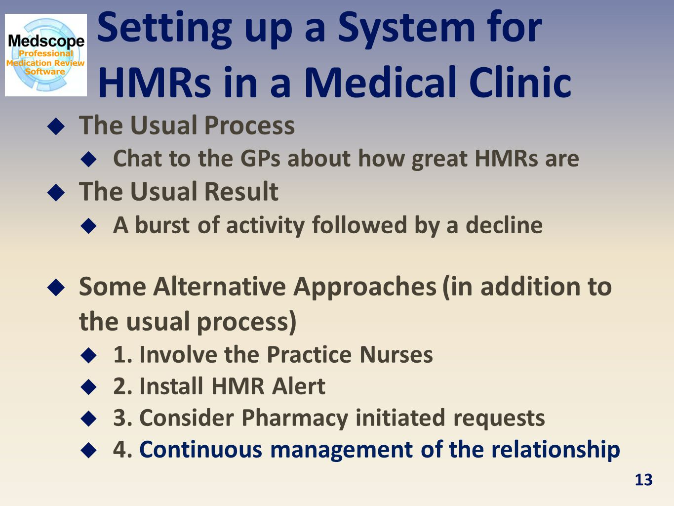 Setting up a System for HMRs in a Medical Clinic  The Usual Process  Chat to the GPs about how great HMRs are  The Usual Result  A burst of activity followed by a decline  Some Alternative Approaches (in addition to the usual process)  1.