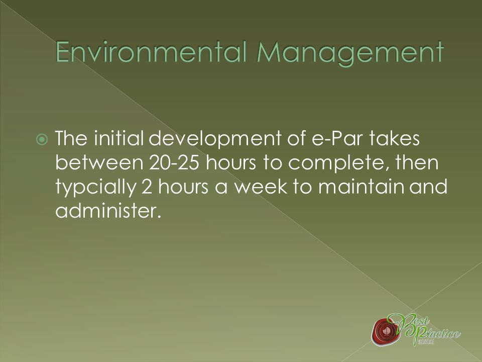  E-Par makes EMS development easier as it contains a range of document templates that can be adapted for our club's specific circumstances.