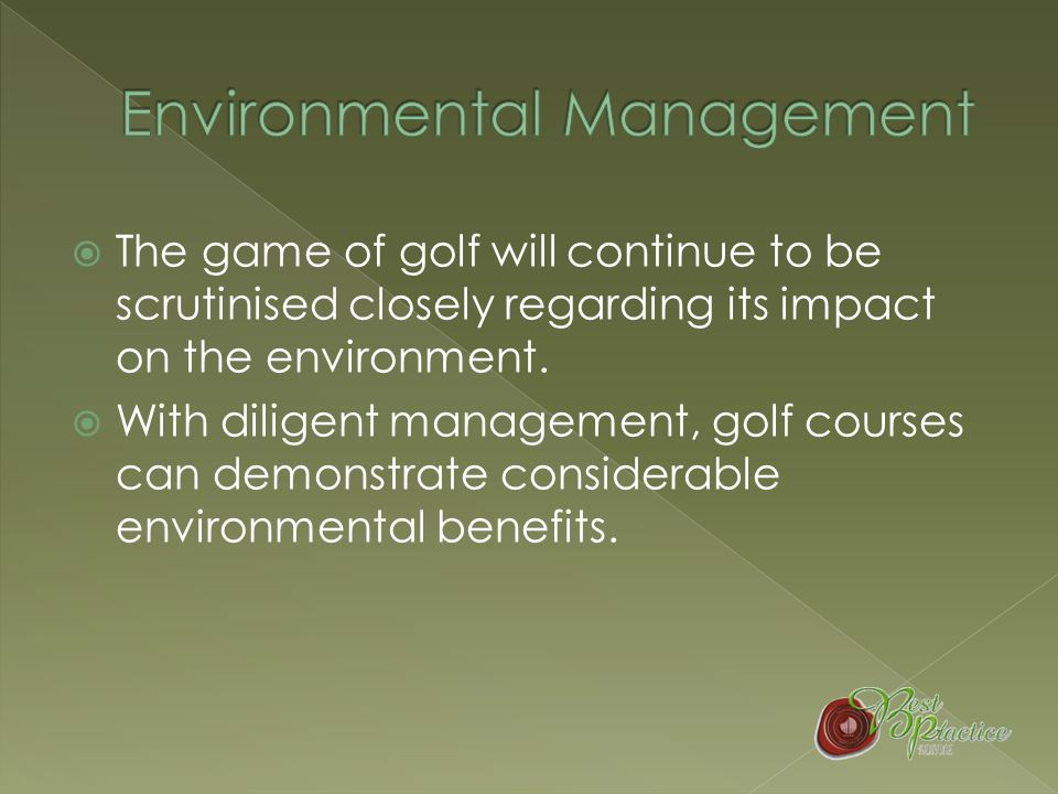 1 ST TEE - Initial Environmental Review ( 2 HOURS) 2 ND TEE - Develop Environmental Policy (0.5 HOUR) 3 RD TEE - Environmental Aspects & Impacts (1 HOUR) 4 TH TEE - Legal and Other Requirements (2 HOURS) 5 TH TEE - Environmental Objectives & Targets ( 1 HOUR) 6 TH TEE - Environmental Action Plans ( 1 HOUR) 7 TH TEE - Structure and Responsibility ( 1 HOUR) 8 TH TEE - Training, Awareness & Competence (0.45 HOUR) 9 TH TEE - Communication (0.5 HOUR) 10 TH TEE – Documentation (0.5 HOUR) 11 TH TEE - Document Control (0.5 HOUR) 12 TH TEE - Operational Control (1 HOUR) 13 TH TEE - Emergency Response (1.5 HOUR) 14 TH TEE - Monitoring & Measure (1 HOUR) 15 TH TEE - Non-Conformance (0.5 HOUR) 16 TH TEE – Records (0.5 HOUR) 17 TH TEE – Audit (2 HOURS) 18 TH TEE - Management Review (2 – 3 HOURS) FRONT9FRONT9 BACK9BACK9 CONTINUOUS IMPROVEMENT
