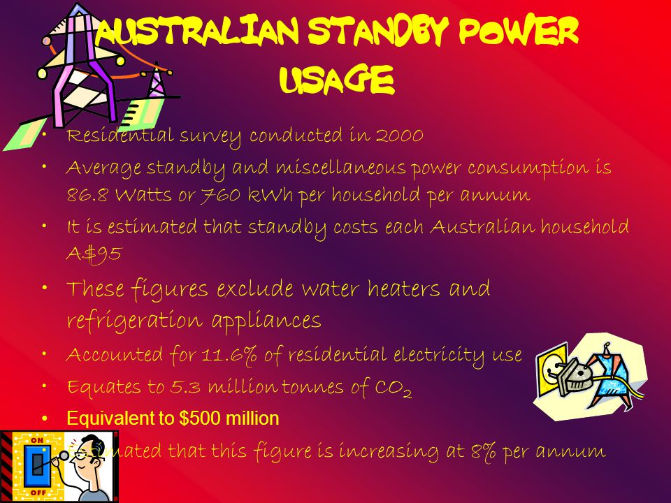 AUSTRALIAN STANDBY POWER USAGE Residential survey conducted in 2000 Average standby and miscellaneous power consumption is 86.8 Watts or 760 kWh per household per annum It is estimated that standby costs each Australian household A$95 These figures exclude water heaters and refrigeration appliances Accounted for 11.6% of residential electricity use Equates to 5.3 million tonnes of CO 2 Equivalent to $500 million Estimated that this figure is increasing at 8% per annum