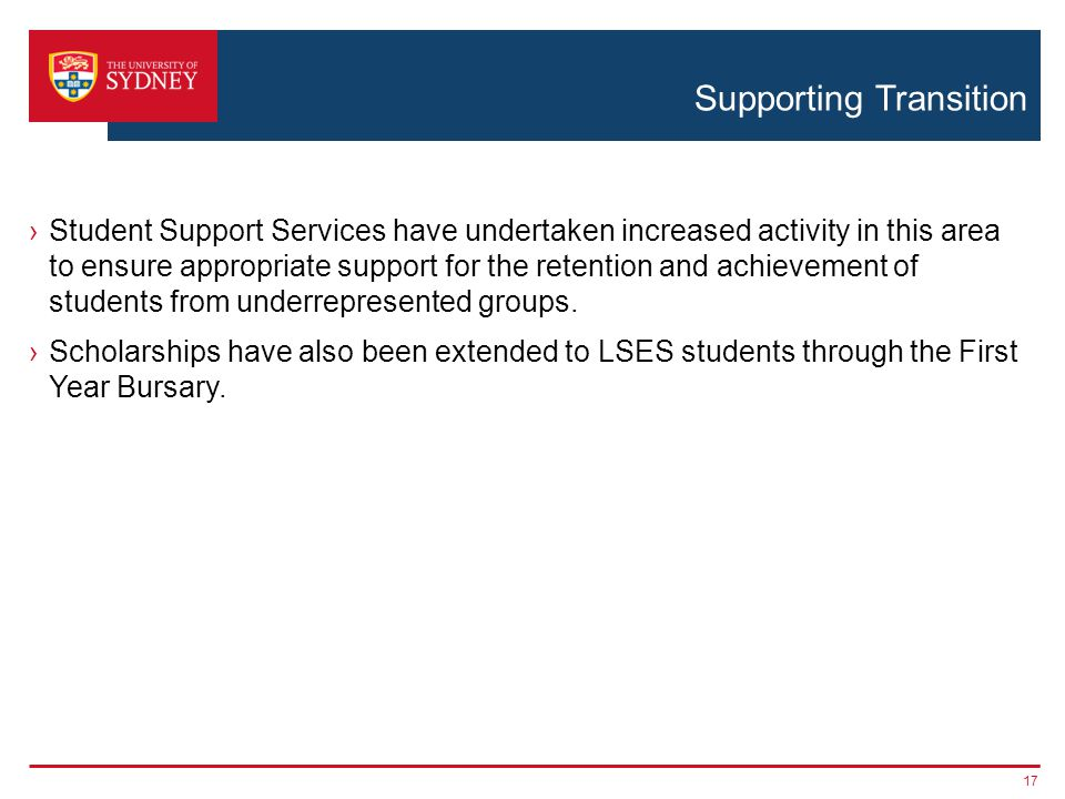 Supporting Transition ›Student Support Services have undertaken increased activity in this area to ensure appropriate support for the retention and achievement of students from underrepresented groups.
