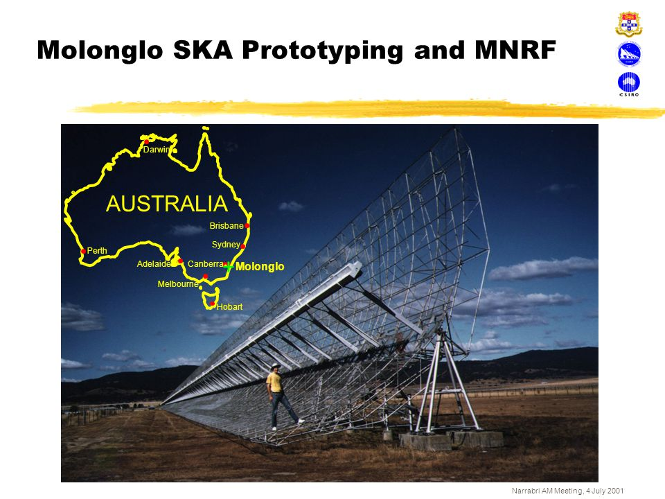 Narrabri AM Meeting, 4 July 2001 Aerostatically mounted receiver above Large Adaptive Reflector (Canada)