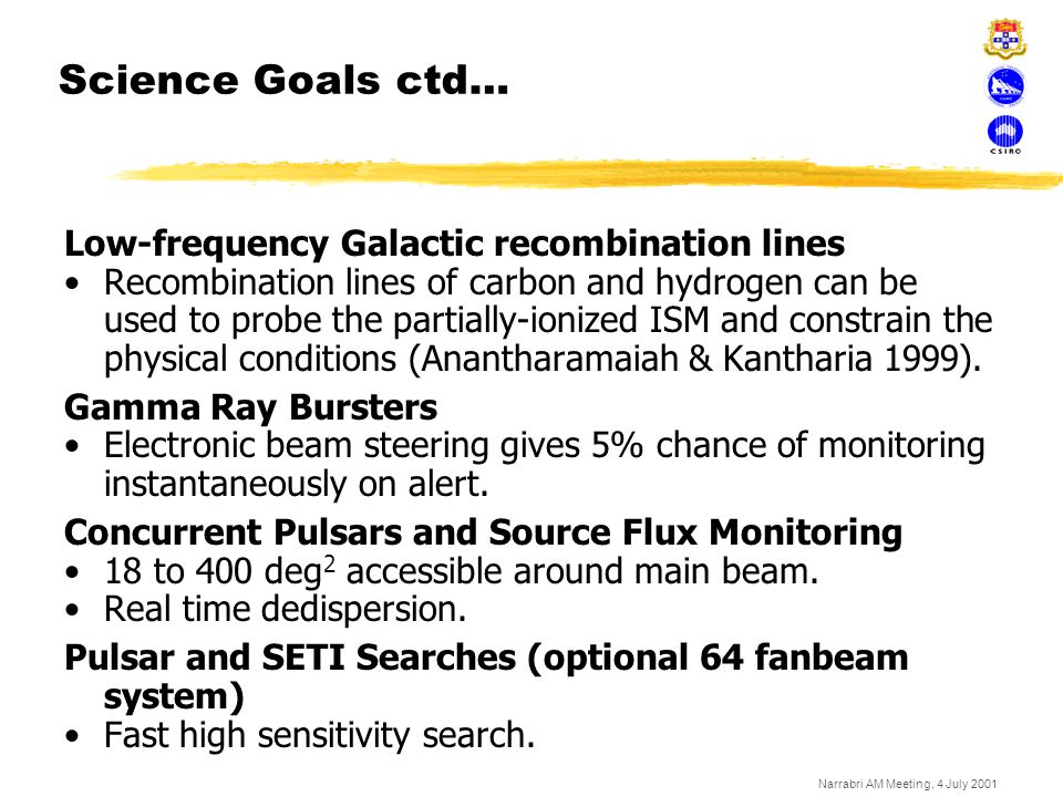 Narrabri AM Meeting, 4 July 2001 Science Goals ctd… Low-frequency Galactic recombination lines Recombination lines of carbon and hydrogen can be used