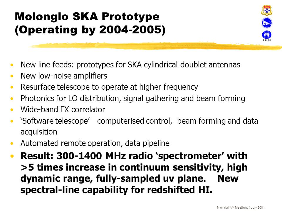 Narrabri AM Meeting, 4 July 2001 Molonglo SKA Prototype (Operating by 2004-2005) New line feeds: prototypes for SKA cylindrical doublet antennas New l