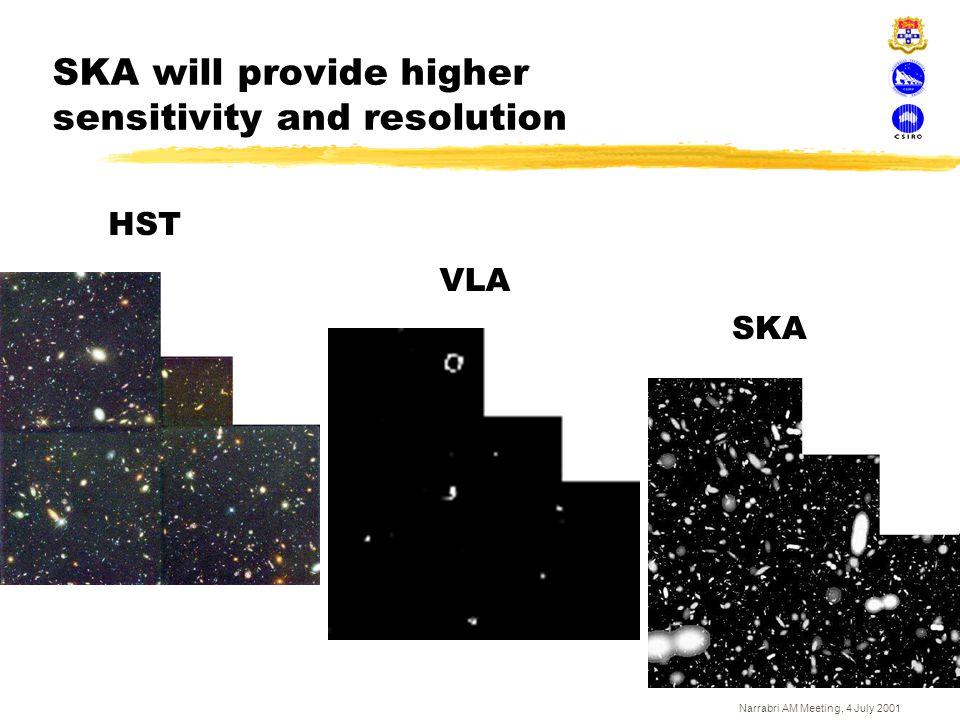 Narrabri AM Meeting, 4 July 2001 SKA will provide higher sensitivity and resolution HST VLA SKA