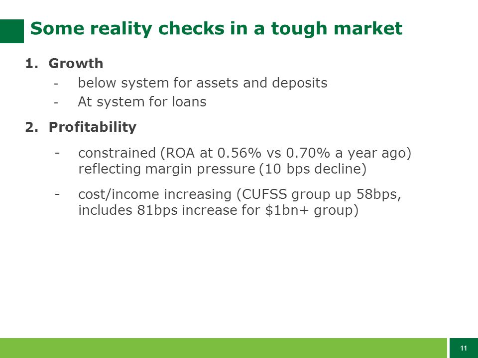 11 Some reality checks in a tough market 1.Growth - below system for assets and deposits - At system for loans 2.Profitability -constrained (ROA at 0.56% vs 0.70% a year ago) reflecting margin pressure (10 bps decline) -cost/income increasing (CUFSS group up 58bps, includes 81bps increase for $1bn+ group)