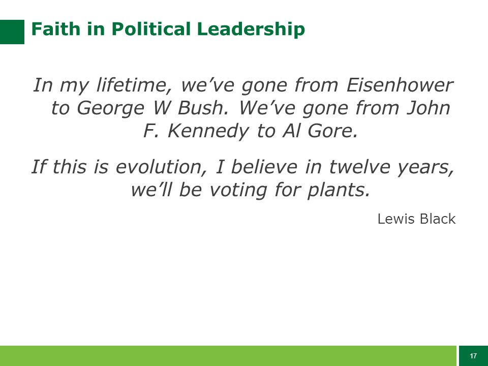 17 Faith in Political Leadership In my lifetime, we've gone from Eisenhower to George W Bush.