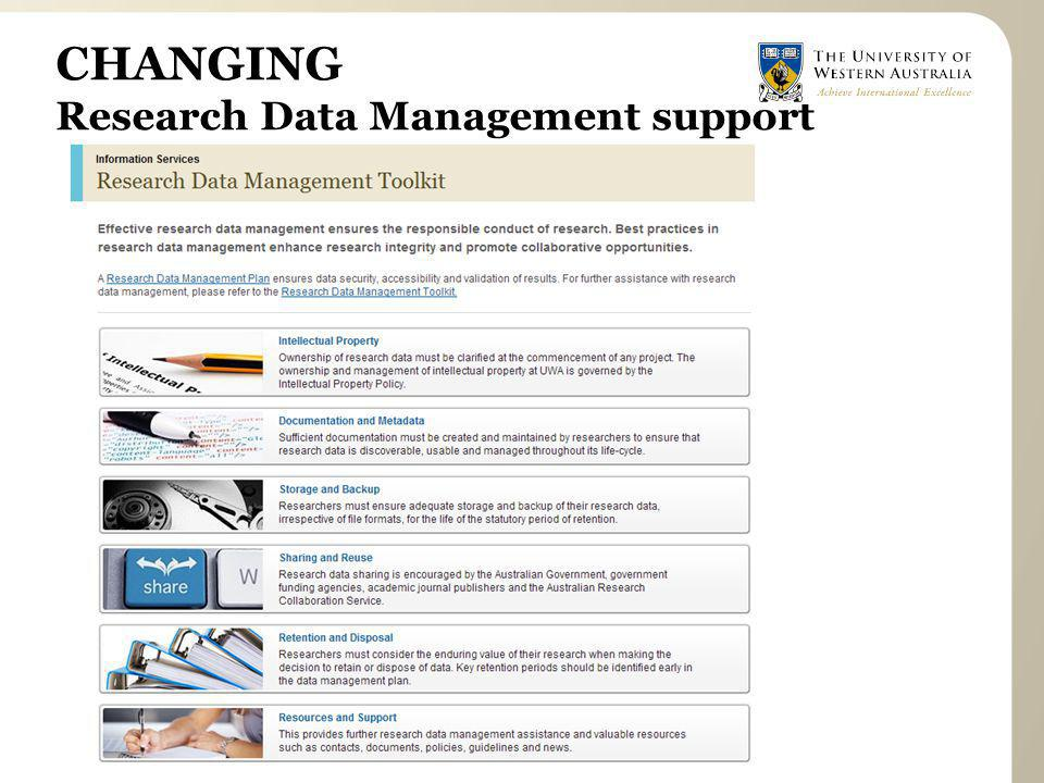 CHANGING Research Data Management support