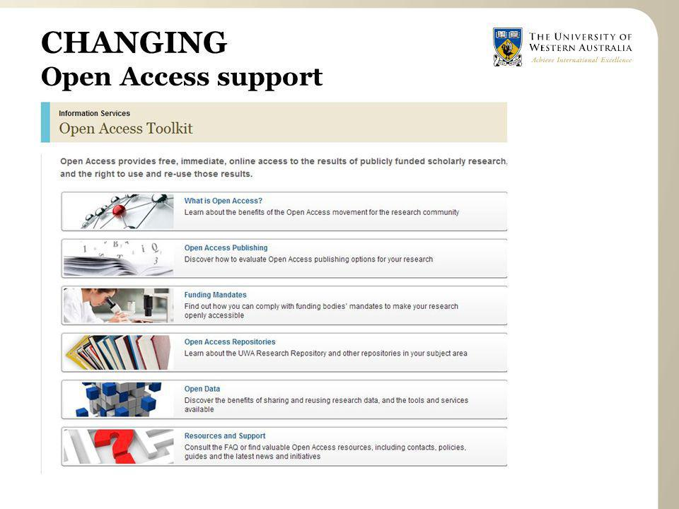 CHANGING Open Access support