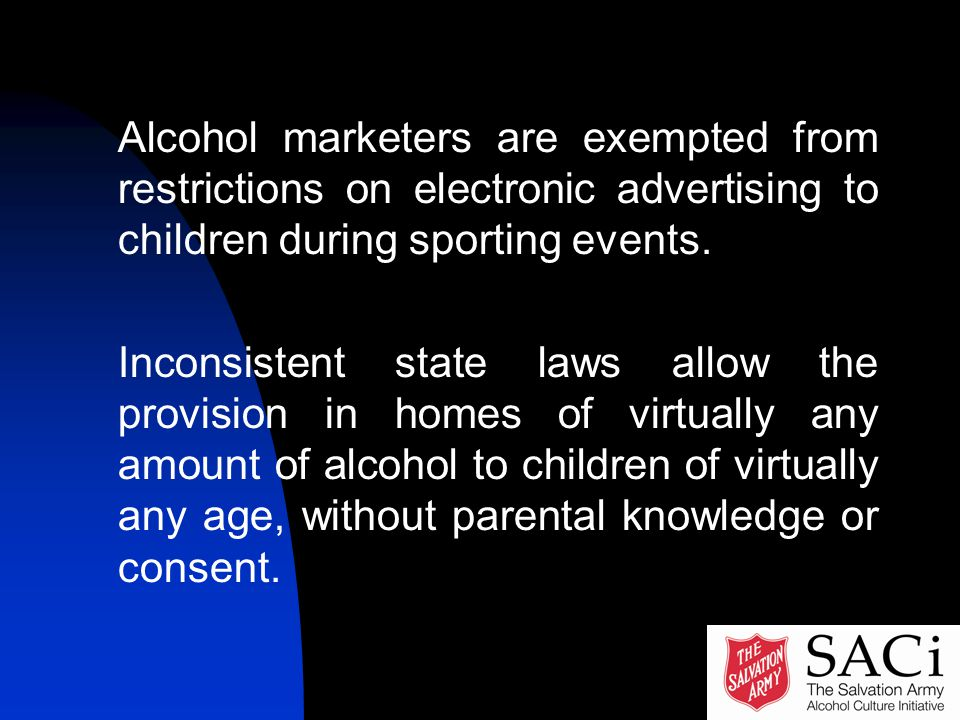 Alcohol marketers are exempted from restrictions on electronic advertising to children during sporting events.