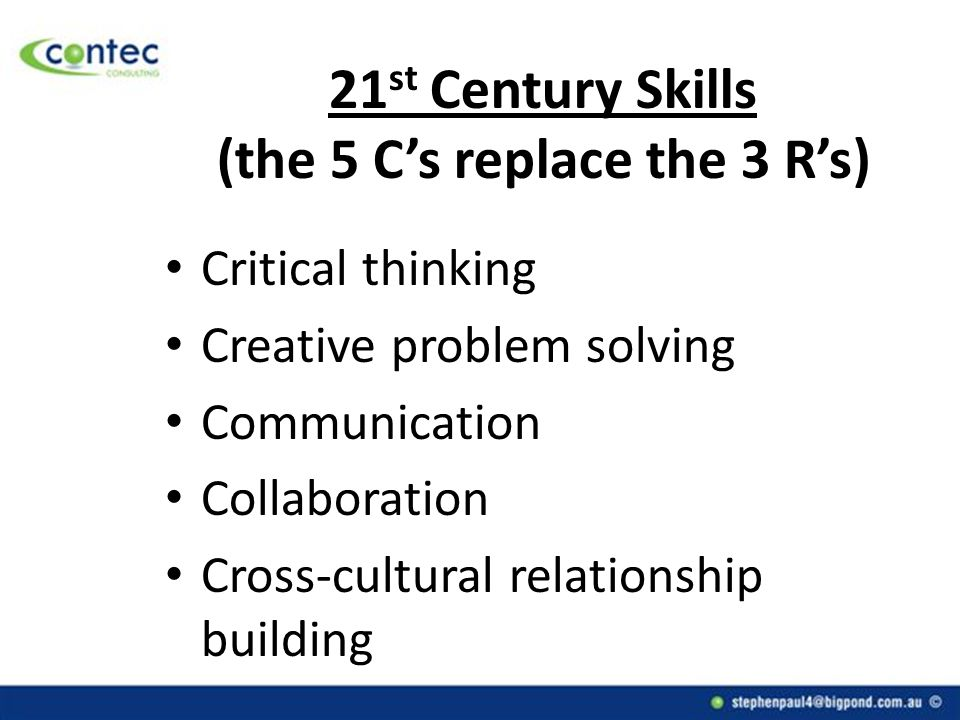 21 st Century Skills (the 5 C's replace the 3 R's) Critical thinking Creative problem solving Communication Collaboration Cross-cultural relationship building