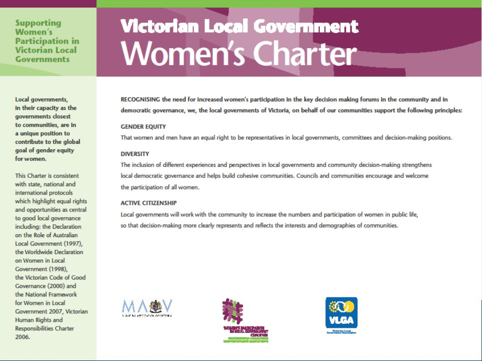 THE STORY SO FAR  Council endorsed the Victorian Local Government Women's Charter in October 2010.