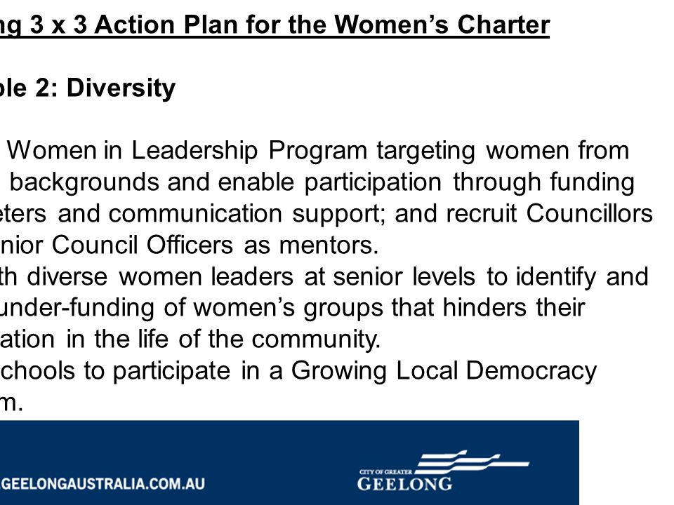 Geelong 3 x 3 Action Plan for the Women's Charter Principle 2: Diversity Fund a Women in Leadership Program targeting women from diverse backgrounds a