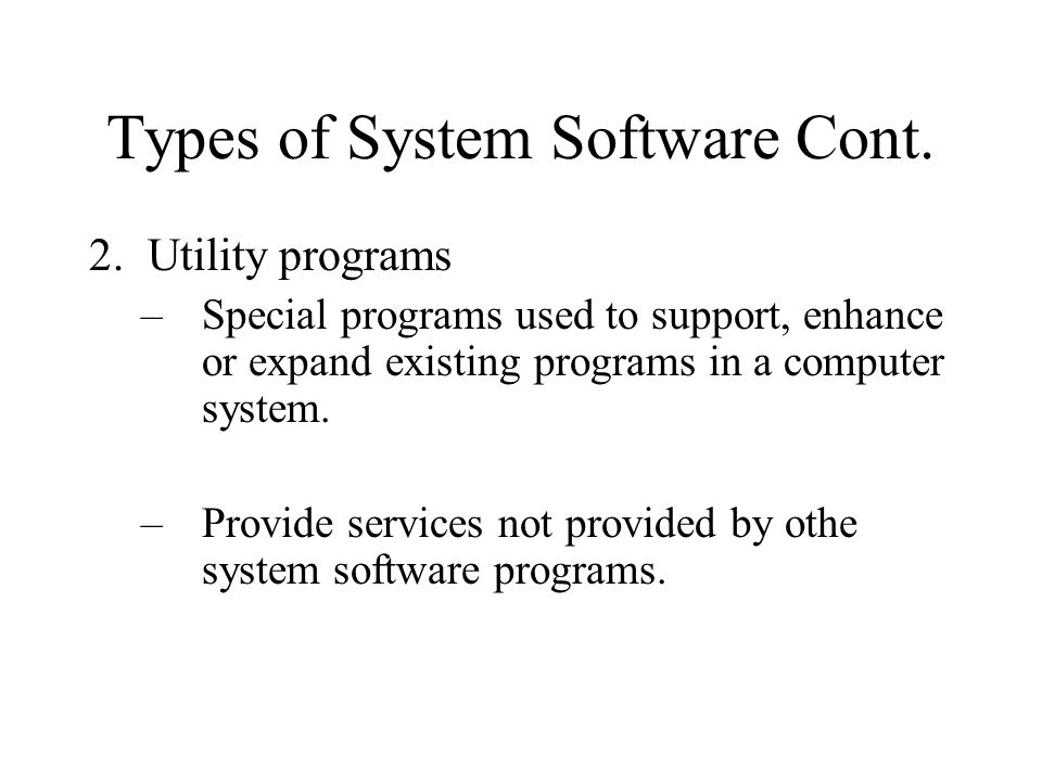 Types of Operating Systems Some common types of operating systems used: DOS - disk operating system MacIntosh OS9, OSX, Panther, Snow Leopard (OS 10.6.2) Windows 95, 98, NT, ME, 2000, XP, Vista, Windows 7 Novell's Netware UNIX LINUX