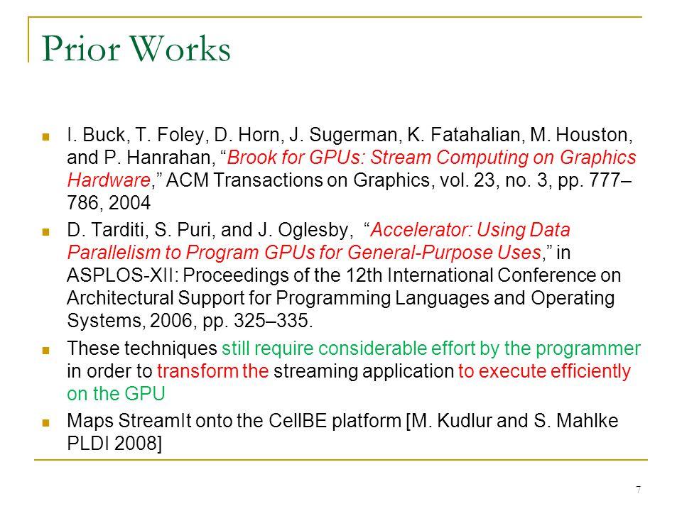 Prior Works I. Buck, T. Foley, D. Horn, J. Sugerman, K.