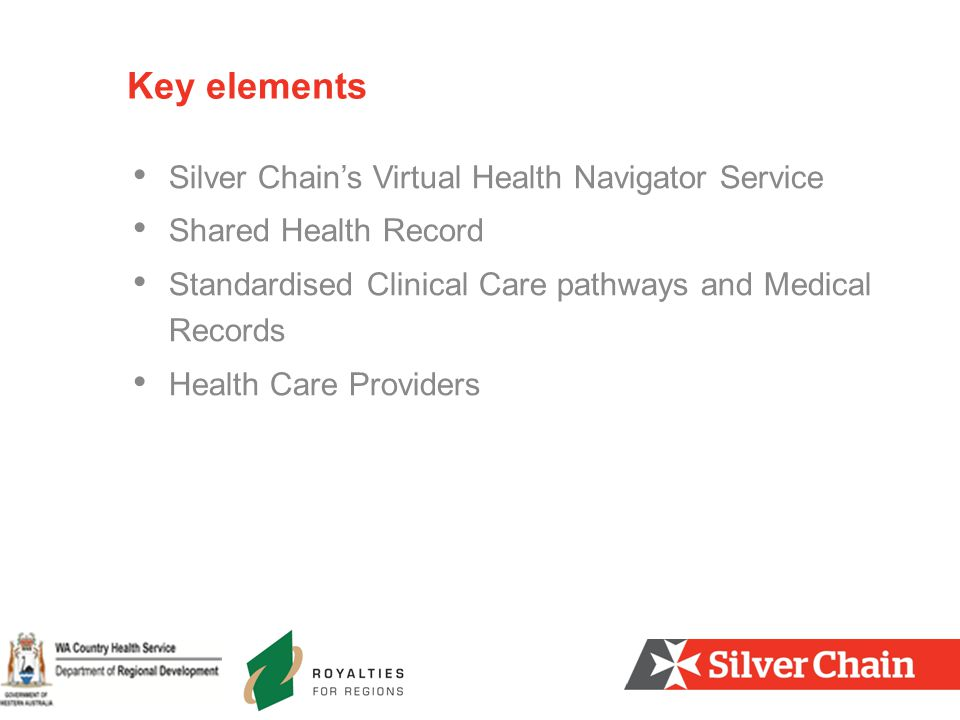 Silver Chain's Virtual Health Navigator Service Shared Health Record Standardised Clinical Care pathways and Medical Records Health Care Providers Key elements