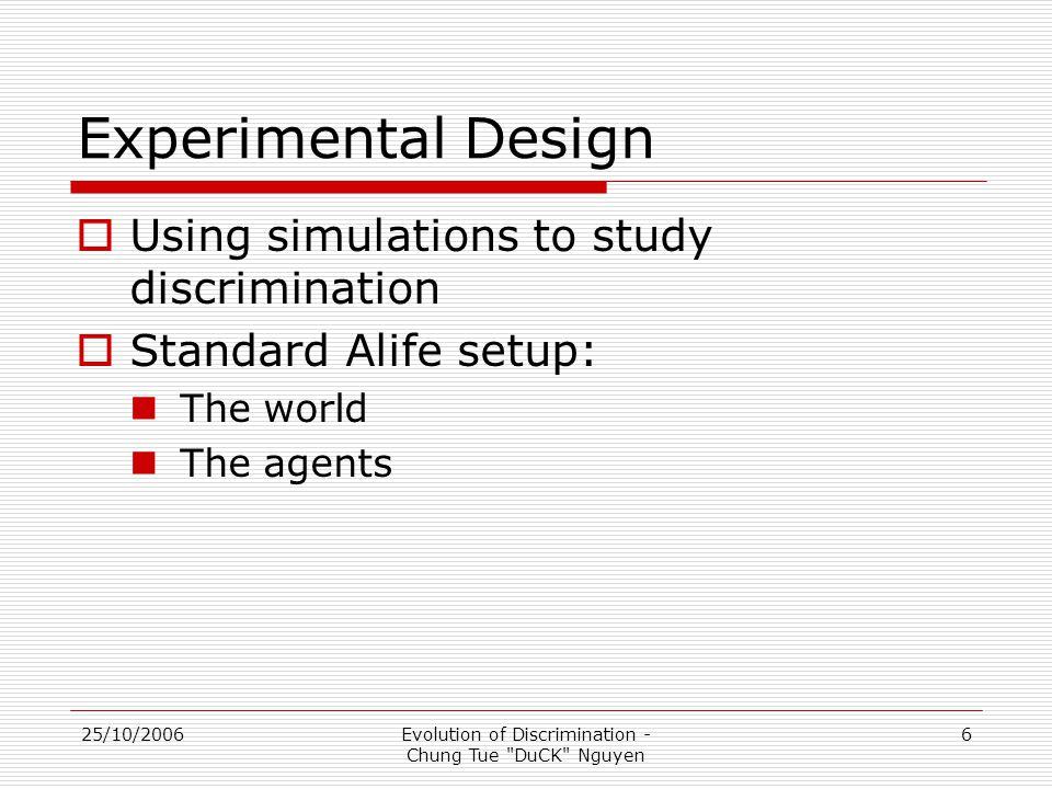 25/10/2006Evolution of Discrimination - Chung Tue