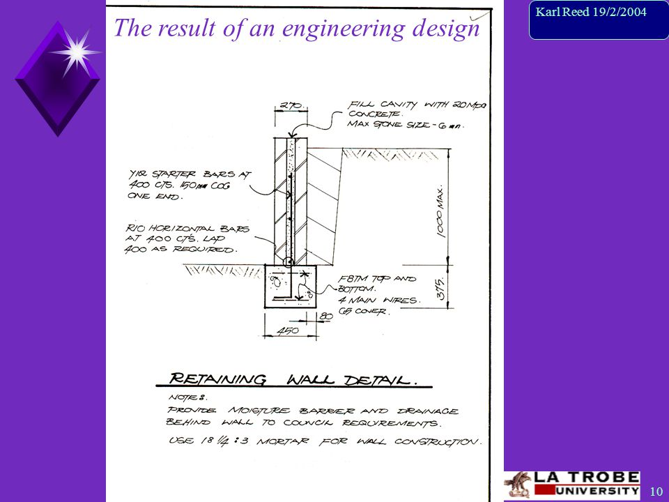 10 Karl Reed 19/2/2004 The result of an engineering design