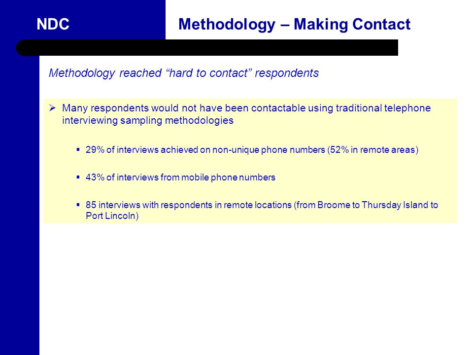 11 NDC Methodology – Making Contact Methodology reached hard to contact respondents  Many respondents would not have been contactable using traditional telephone interviewing sampling methodologies  29% of interviews achieved on non-unique phone numbers (52% in remote areas)  43% of interviews from mobile phone numbers  85 interviews with respondents in remote locations (from Broome to Thursday Island to Port Lincoln)