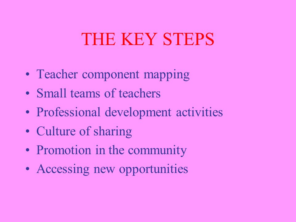 THE KEY STEPS Teacher component mapping Small teams of teachers Professional development activities Culture of sharing Promotion in the community Accessing new opportunities