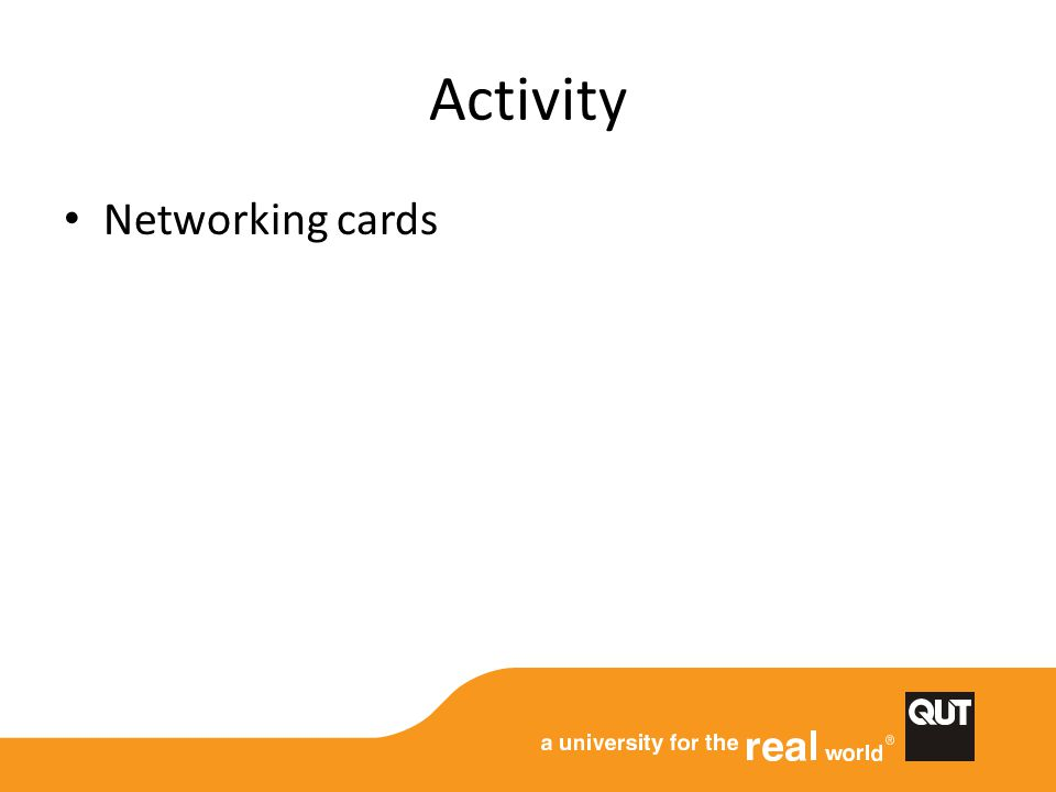 Activity Networking cards