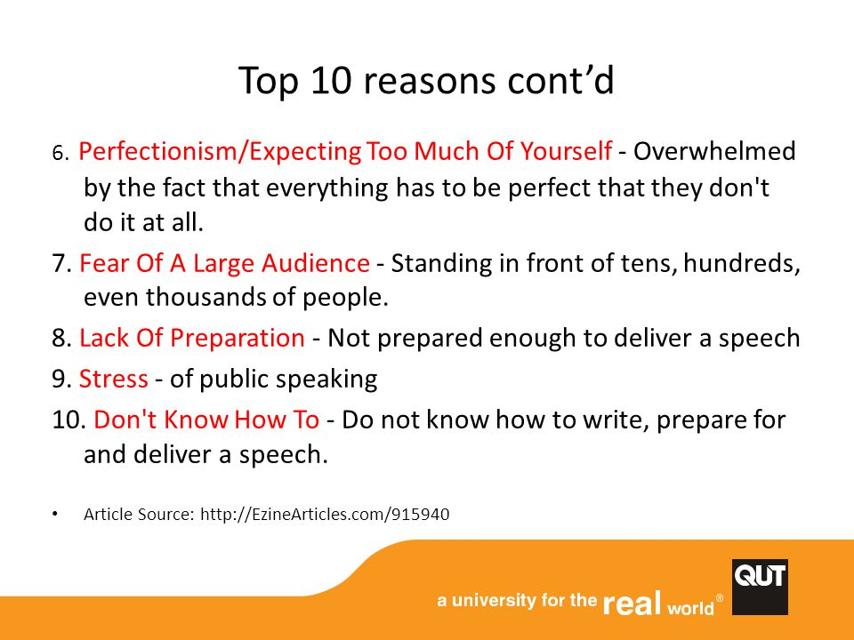 Top 10 reasons cont'd 6.