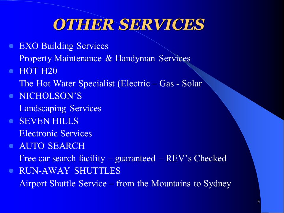 5 OTHER SERVICES EXO Building Services Property Maintenance & Handyman Services HOT H20 The Hot Water Specialist (Electric – Gas - Solar NICHOLSON'S Landscaping Services SEVEN HILLS Electronic Services AUTO SEARCH Free car search facility – guaranteed – REV's Checked RUN-AWAY SHUTTLES Airport Shuttle Service – from the Mountains to Sydney