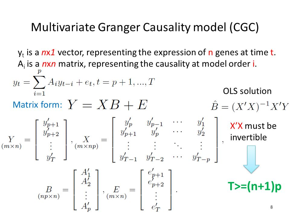 Multivariate Granger Causality model (CGC) y t is a nx1 vector, representing the expression of n genes at time t.