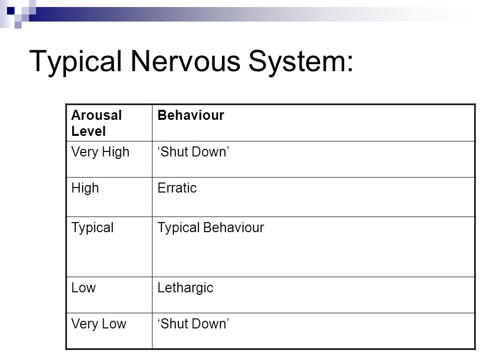Typical Nervous System: Arousal Level Behaviour Very High'Shut Down' HighErratic TypicalTypical Behaviour LowLethargic Very Low'Shut Down'
