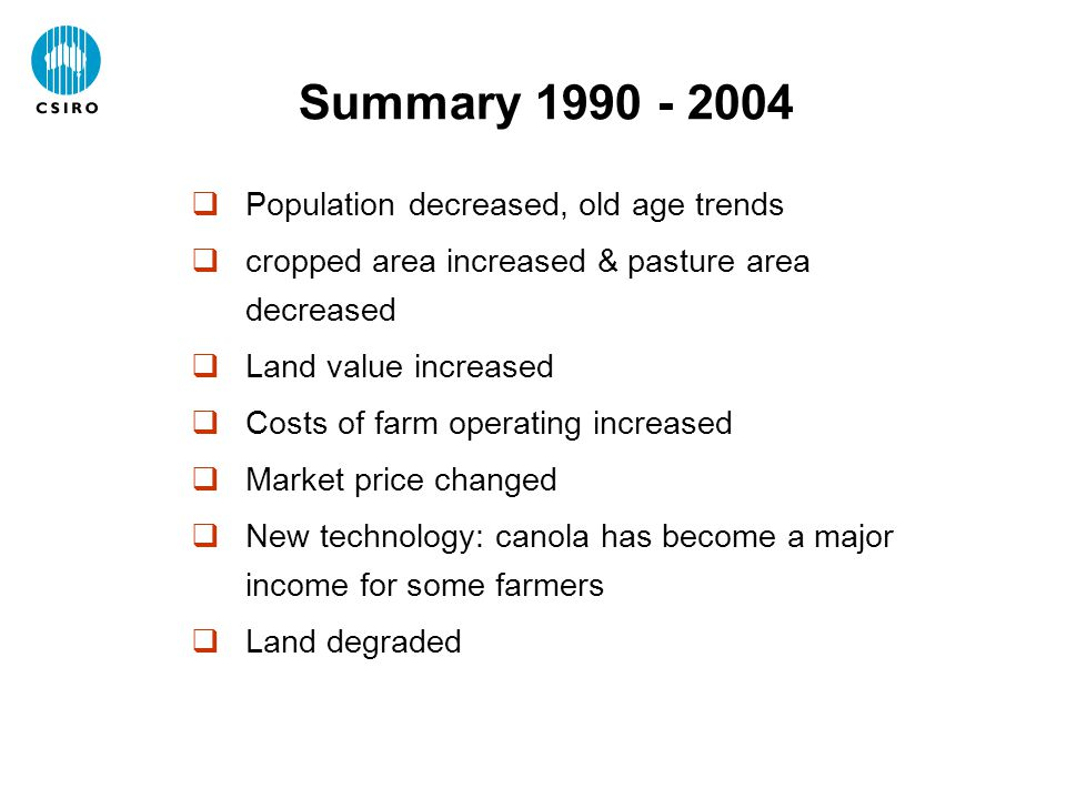  Population decreased, old age trends  cropped area increased & pasture area decreased  Land value increased  Costs of farm operating increased 