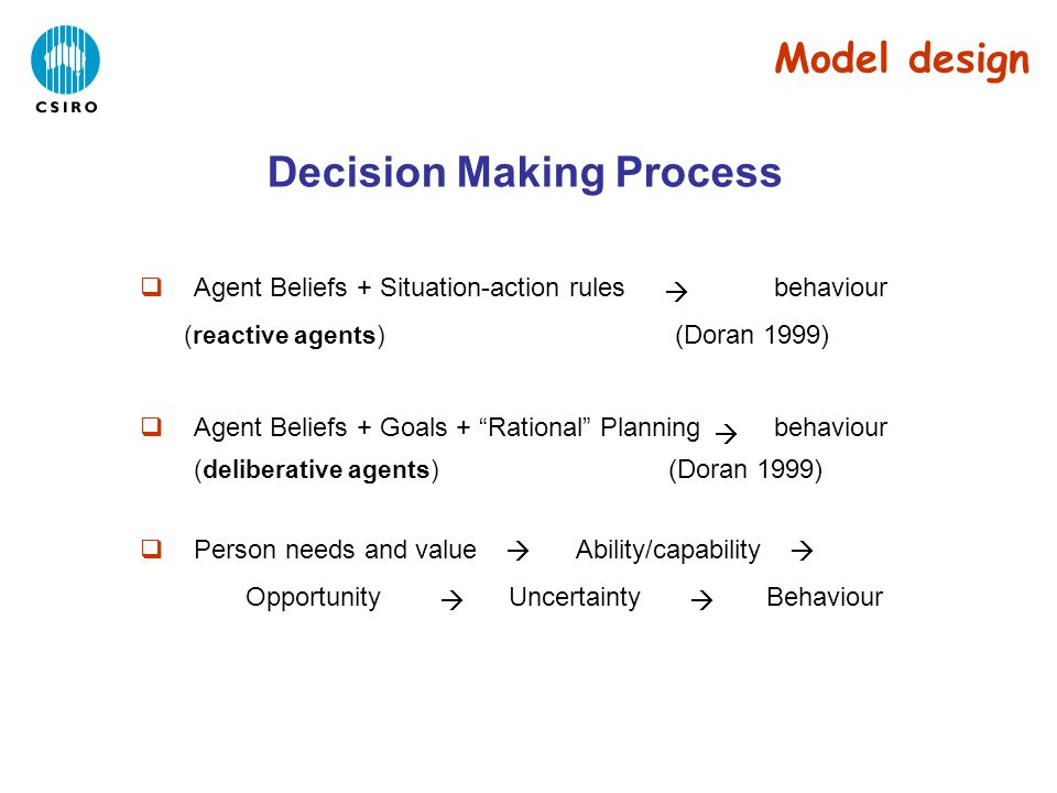 Decision Making Process Model design  Agent Beliefs + Situation-action rules behaviour (reactive agents) (Doran 1999)  Agent Beliefs + Goals + Rational Planning behaviour (deliberative agents) (Doran 1999)  Person needs and value Ability/capability Opportunity Uncertainty Behaviour    
