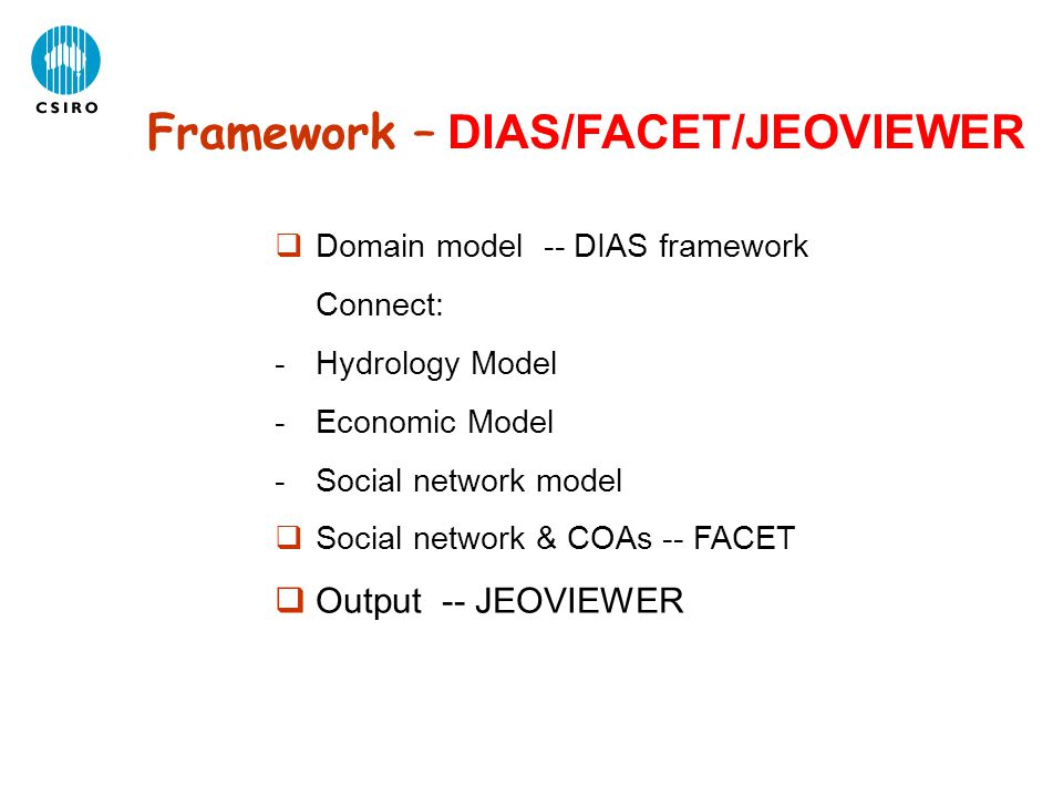 Framework – DIAS/FACET/JEOVIEWER  Domain model -- DIAS framework Connect: -Hydrology Model -Economic Model -Social network model  Social network & C