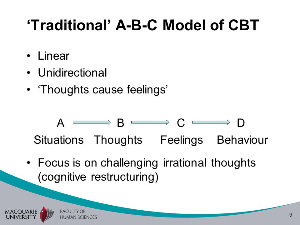 6 'Traditional' A-B-C Model of CBT Linear Unidirectional 'Thoughts cause feelings' ABCD SituationsThoughts Feelings Behaviour Focus is on challenging irrational thoughts (cognitive restructuring)