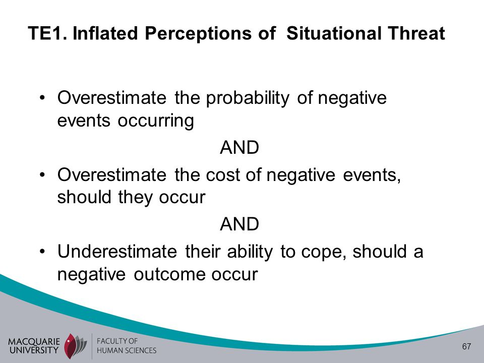 67 TE1. Inflated Perceptions of Situational Threat Overestimate the probability of negative events occurring AND Overestimate the cost of negative eve