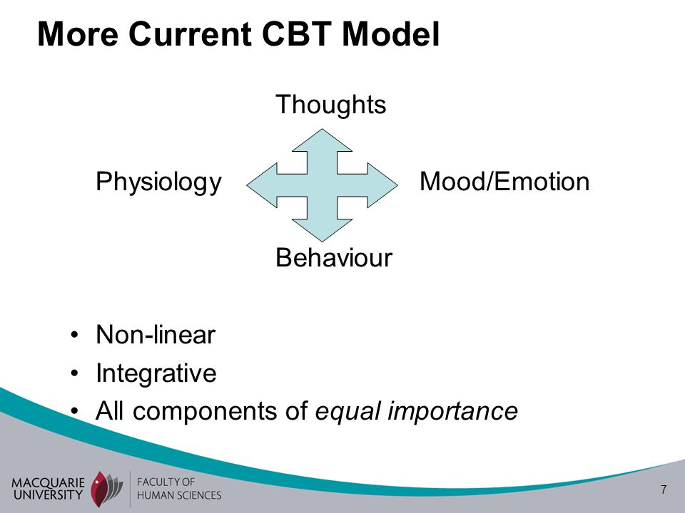 8 COGNITION Physiology (Physical Symptoms) Mood/Emotion BehaviourPerception/Attention 'More Conscious' 'More Automatic' Final Cognitive Pathway Model 'Environment'