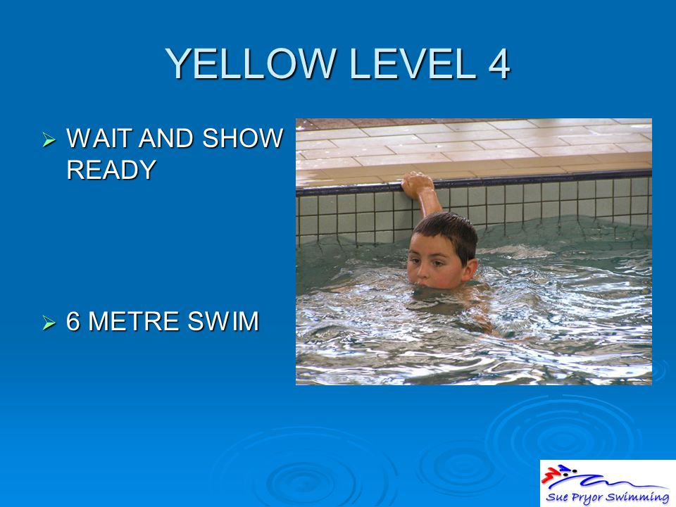 YELLOW LEVEL 4  WAIT AND SHOW READY  6 METRE SWIM