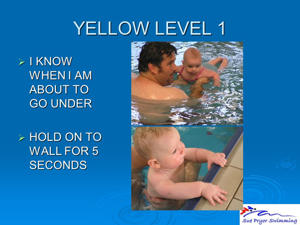 YELLOW LEVEL 1  I KNOW WHEN I AM ABOUT TO GO UNDER  HOLD ON TO WALL FOR 5 SECONDS